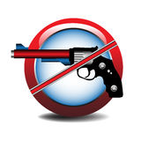 No guns allowed. Abstract colorful illustration with a symbol which shows that no guns are allowed Royalty Free Stock Image