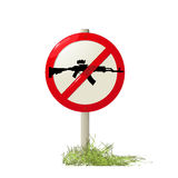 No guns allowed. Street sign with a machine-gun silhouette, no guns allowed Stock Images