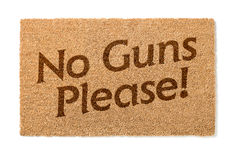 No Guns Please Welcome Mat On White Stock Image