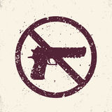 No guns sign with pistol, handgun silhouette Royalty Free Stock Photography