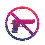 No guns sign with powerful pistol, no firearms. Print over white Royalty Free Stock Photography