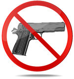 No guns vector sign. No guns sign. Red prohibition vector symbol. You can simply change color and size Royalty Free Stock Images