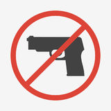No guns or weapons sign. Vector illustration. Royalty Free Stock Images