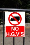 No H.G.V'S sign. No entry for Heavy goods lorries Stock Photo