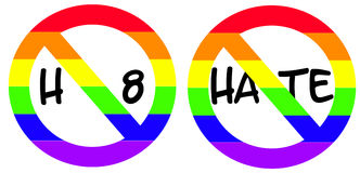 No Hate Signs. With Gay Pride Rainbow Royalty Free Stock Photography
