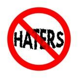 No haters allowed sign flat vector illustration. Rude behavior ban, anger prohibition banner concept. Motivational social media message, internet issue. Trendy vector illustration
