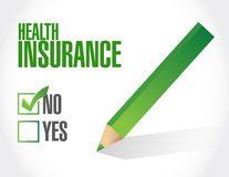 No Health Insurance check sign concept. Illustration design graphic Stock Photo