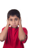 No Hear. An handsome indian kid not willing to hear Stock Image