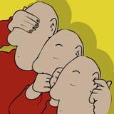No hear see say. Three bald men hand blocking mouth ears eyes Royalty Free Stock Image