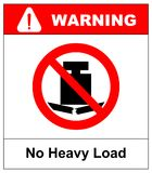 No heavy load, do not place heavy objects on surface, prohibition sign, vector illustration. royalty free illustration