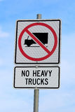 No Heavy Trucks Sign against Cloudy Blue Sky Background Stock Photography