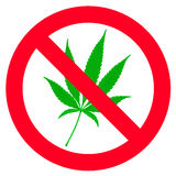 No hemp leaf sign Royalty Free Stock Photos