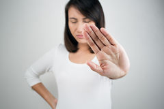 NO on her hand stock photography