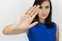 NO on her hand. Young woman showing her denial with NO on her hand stock image