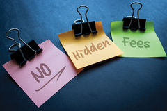 No Hidden Fees. Sticky notes message , no hidden fees stock images