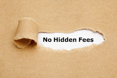 No Hidden Fees Torn Paper Concept. The massage No Hidden Fees appearing behind ripped brown paper royalty free stock photo