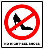 No high heel shoes sign on white background. vector illustration. Red prohibition circle with silhouette of woman high heel shoes Royalty Free Stock Photos
