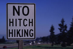 No Hitch Hiking - Road Sign Stock Images