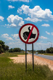 No hitchhiking road sign, Namibia Stock Images