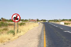 No hitchhiking sign, Namibia Royalty Free Stock Photography