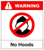 No hoods under this point sign. Warning banner. Vector illustration. Red prohibition circle isolated on white background Royalty Free Stock Photography
