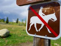 A no horseback riding sign in Wyoming. Royalty Free Stock Photos