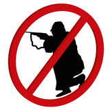No hunt - no shooting forbidden 3D sign symbol on white background, vector stock illustration preventing shooting and violent beha. Ooting forbidden 3D sign Royalty Free Stock Photo