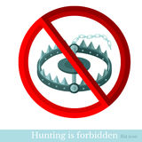 No hunt trap in forest.red circle with trap Royalty Free Stock Images