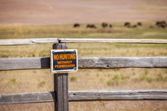 'No hunting without permission' sign Stock Photos