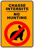 No Hunting Sign. No hunting permitted sign - illustration sign - Chasse interdite Royalty Free Stock Photos