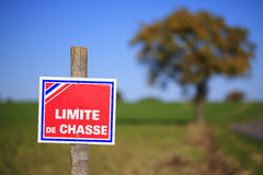 No Hunting. Sign in France Royalty Free Stock Photography