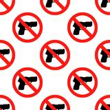 No hunting sign vector,no weapon sign, Stop hunting,prohibit sign. No weapon sign seamless pattern on white background. Stop hunting,prohibit sign . Flat design Stock Images