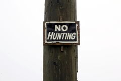 No Hunting Sign on White Background Royalty Free Stock Photos