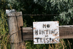 No hunting or trespassing. Sign, rural wyoming Stock Images