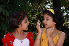 No I dont Agree. A two girls having debate over something Stock Photos