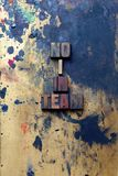 No I in Team. The words No I in Team written in very old and well used letterpress type Royalty Free Stock Photos