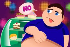 No, I Will Not Touch Cakes. An image of a fat young man standing in front of a bakery display case and looking at all the cakes and pastries with disdain Stock Photo