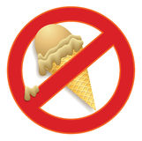 No ice cream. Forbidden eating ice cream in a prohibited sign Royalty Free Stock Photos