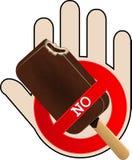 No Ice Cream icon with hand Stock Photos