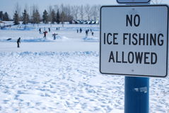 No Ice Fishing Allowed Royalty Free Stock Photos