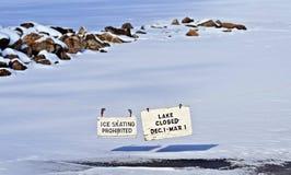 Winter No Ice Skating Warning Sign Royalty Free Stock Photography