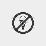 No icecream icon in a flat design in black color. Vector illustration eps10 Royalty Free Stock Images