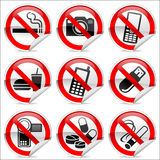 No icons. 9 prohibited signs that are common in use Royalty Free Stock Photo