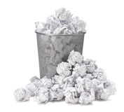 No idea - Crumpled paper can recycle was thrown to metal basket Stock Photo