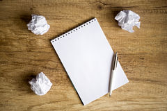 No idea - Empty notebook on wooden table Royalty Free Stock Images