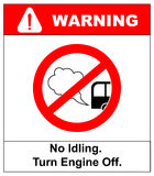 No idling or idle reduction sign on white background. vector illustration. turn engine off. prohibition symbol in red Royalty Free Stock Image