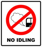 No idling or idle reduction sign on white background. vector illustration. turn engine off. prohibition symbol in red Stock Photo