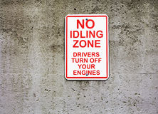 No idling zone sign. No idling sign next to open air market royalty free stock image