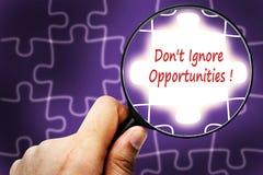 ¡No ignore las oportunidades! palabra Lupa y rompecabezas Imágenes de archivo libres de regalías