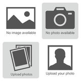 No image available. Set of pictures means that no photo: blank picture, camera, photography icon and silhouette of a man. Missing image sign or uploading stock illustration